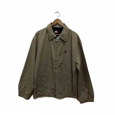 Tommy Hilfiger Jacket Vintage Tommy Hilfiger Windbreaker 90/'s Tommy Hilfiger Brown Harrington Zipper Jacket  Size XXL