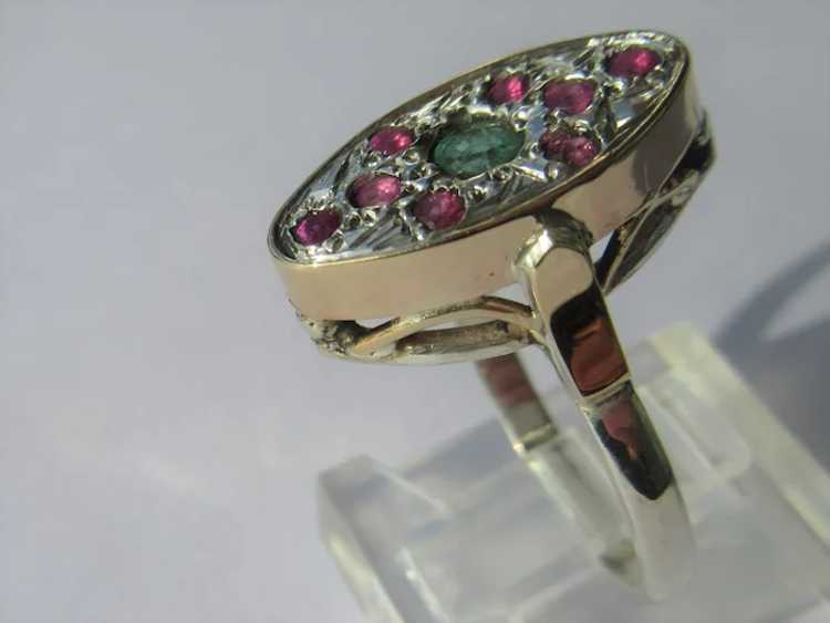 Emerald and Ruby Sterling Silver Ring - image 4