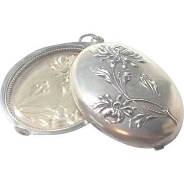 French Antique Silver Slide Pendant - Chrysanthemu
