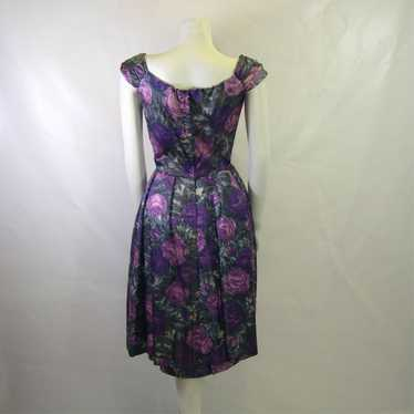 Vintage Cocktail Dress 1950s Abstract Print