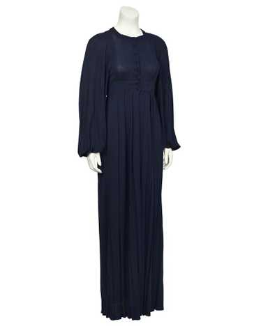 Jean Muir Navy Rayon Jersey Maxi Dress