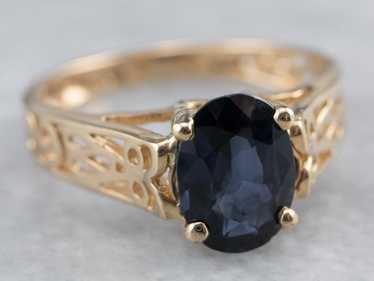 Sapphire Gold Filigree Solitaire Ring - image 1