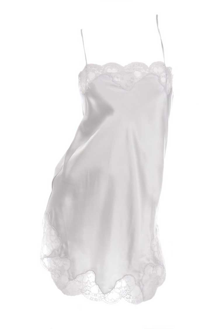 1970s Nordstrom Silver Grey Silk Chemise w/ Lace … - image 1