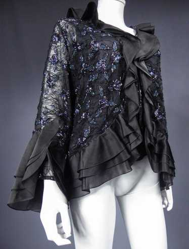 Hanae Mori tulle embroidered tulle jacket - Circa