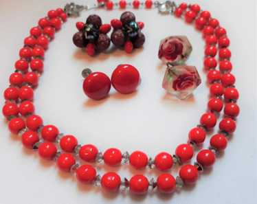 3 Vintage Red Clip-on Earrings with Necklace - 195