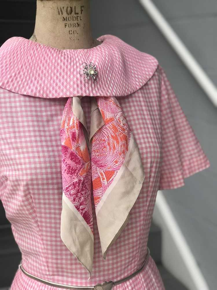1960s Pink Pleated Collar Gingham Day Dress - image 3