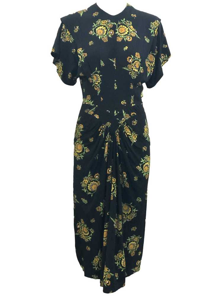 Dorothy O'Hara 40s Rayon Print Dress - image 1