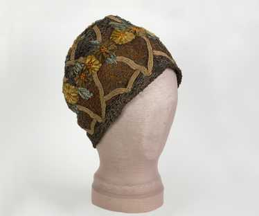 Embroidered metallic lace skull cap, 1920s