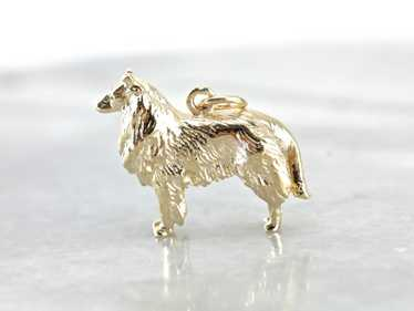 Collie Dog Gold Charm Pendant