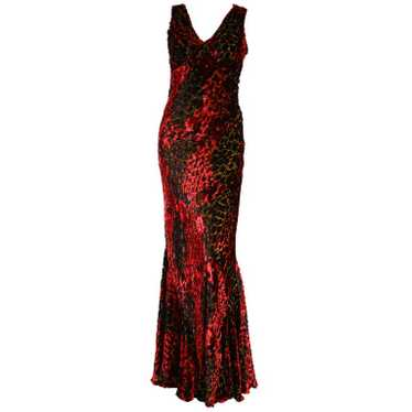 Etro Velvet Red Floral Gown