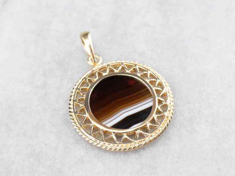 Mid Century Banded Agate Pendant - image 3