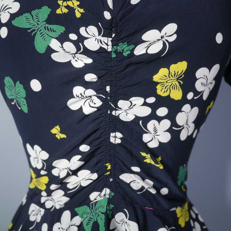40s BUTTERFLY PRINT RAYON DRESS WITH PEPLUM AND K… - image 7