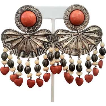 Bohemian Clip-on Earrings Embellished with Orange