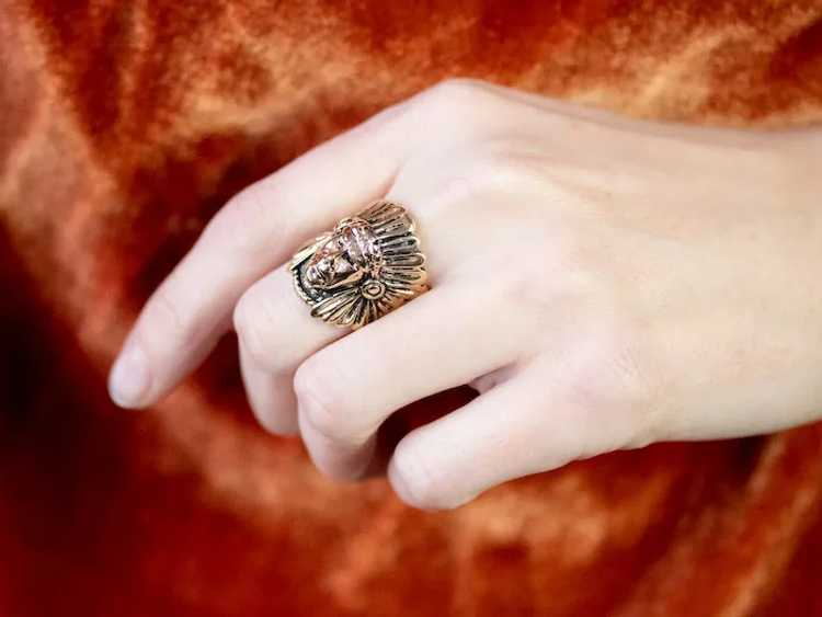 Native American Chief Statement Ring - image 10