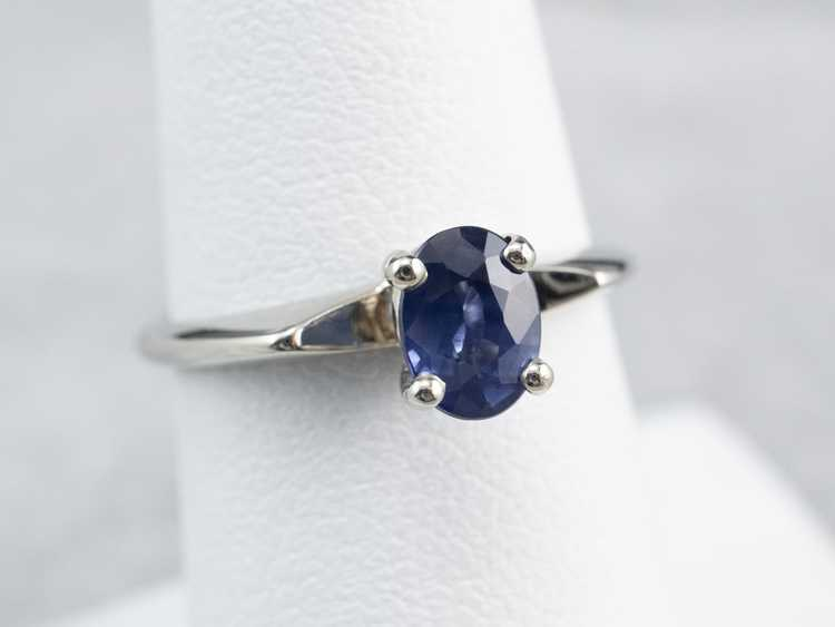 White Gold Sapphire Solitaire Ring - image 7
