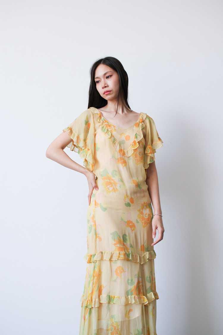 1930s Chiffon Silk Yellow Floral Dress w/ Bolero - image 4