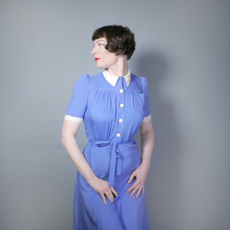 40s NURSE / ALICE style BLUE WHITE COLLARED SHIRT… - image 5