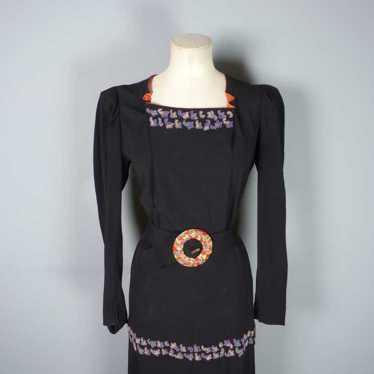 30s 40s BLACK CREPE EVENING DRESS WITH BEADED PEP… - image 8