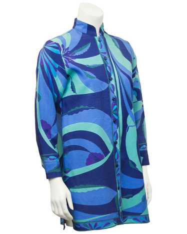 Bessi Blue Silk and Wool Printed 3/4 Length Jacket