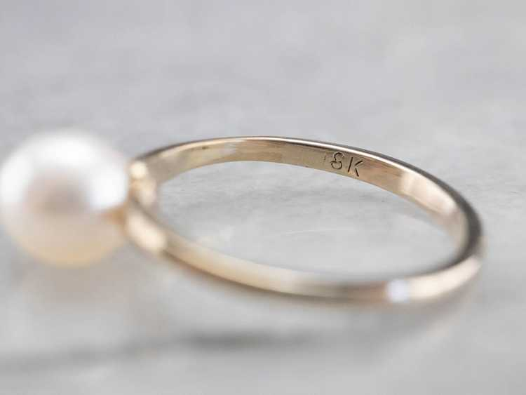 Pearl White Gold Solitaire Ring - image 6