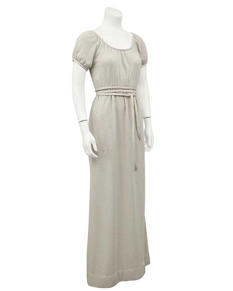 Bonnie Cashin Cream Wool Jersey Gown With Leather… - image 1