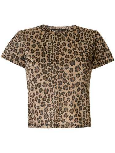 Fendi Pre-Owned leopard print mesh T-shirt - Brown