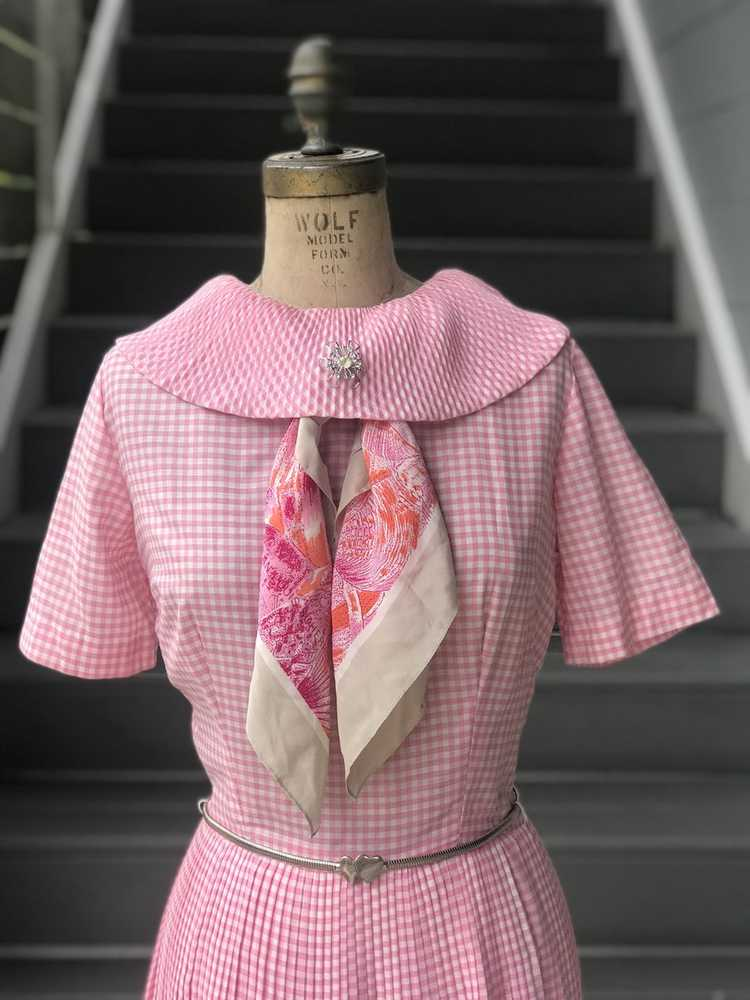 1960s Pink Pleated Collar Gingham Day Dress - image 2