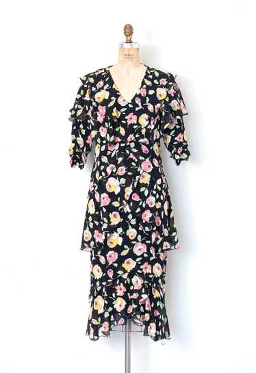 1980s Holly Harp Floral Silk Dress | S/M