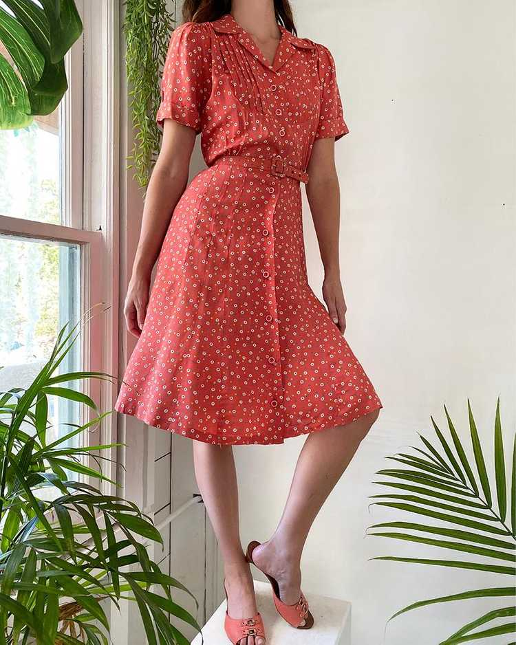 40s Floral Rayon Dress - image 1