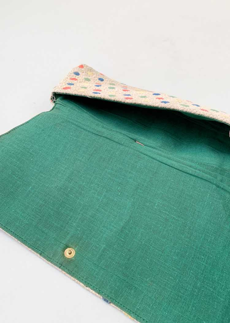 Vintage 1940s Fabric Clutch with Celluloid Rings - image 4