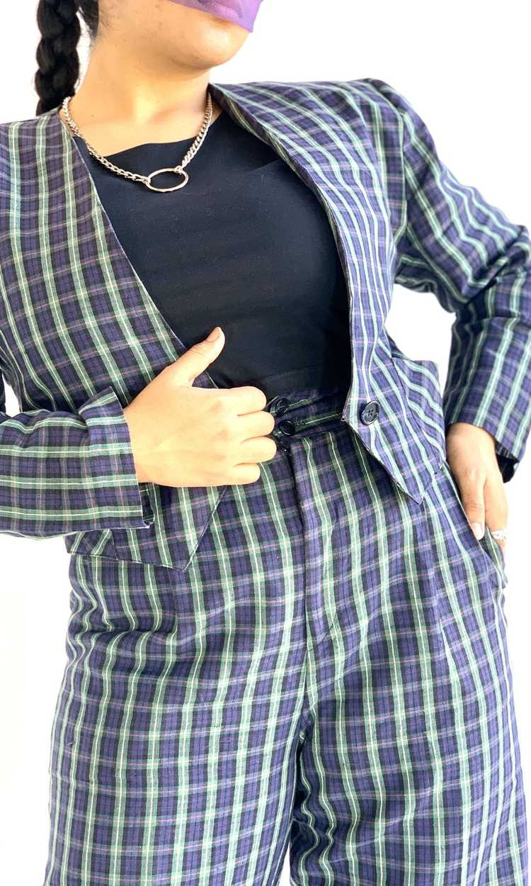 Plaid Linen Suit Set - image 2