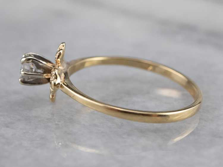 Floral Diamond and Gold Solitaire Ring - image 4