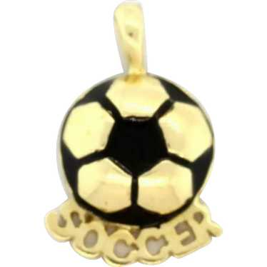 Soccer Ball Charm 'Soccer' 14K Yellow Gold Enamel