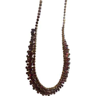 Vintage Ruby Red Glass 1920s Bib Necklace