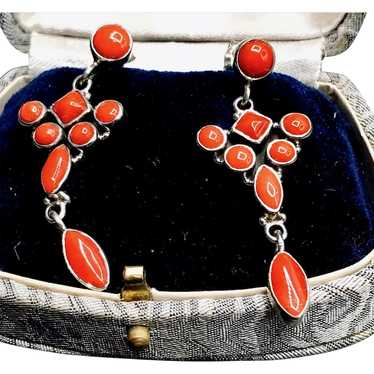 Coral and Sterling Silver Chandelier Earrings - image 1