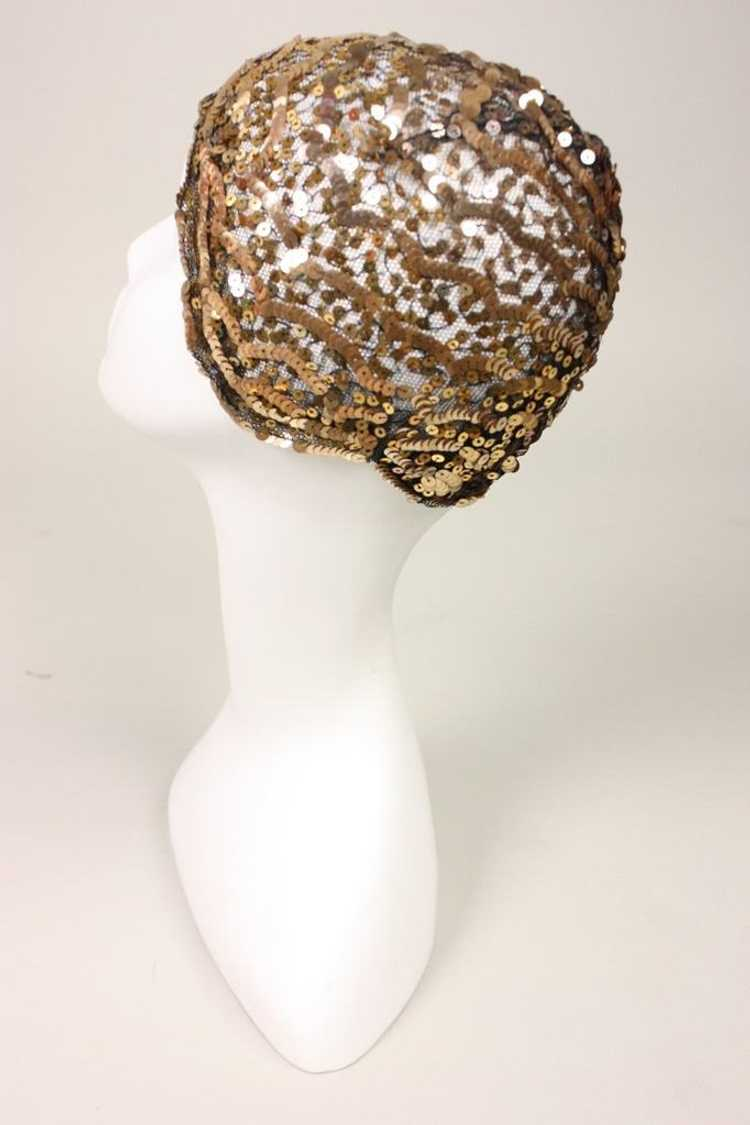 1930's Skull Cap Sequined Vintage - image 7
