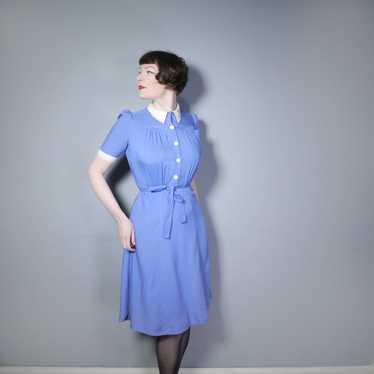40s NURSE / ALICE style BLUE WHITE COLLARED SHIRT… - image 1