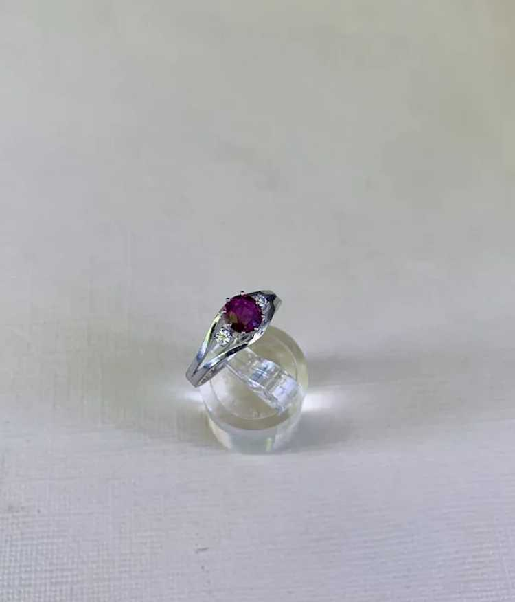 18k Gold Ruby Diamond Solitaire Ring - image 7