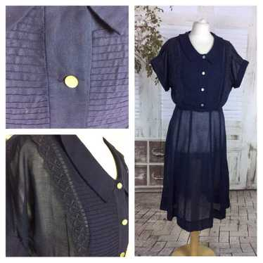 Original 1940s Volup Vintage Navy Blue Cotton Voil