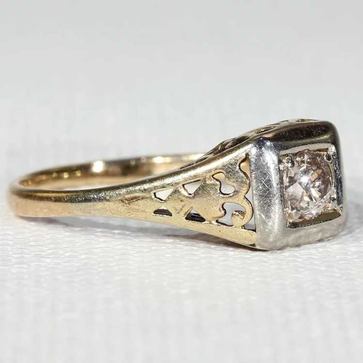 Vintage Gold Diamond Solitaire Ring - image 2