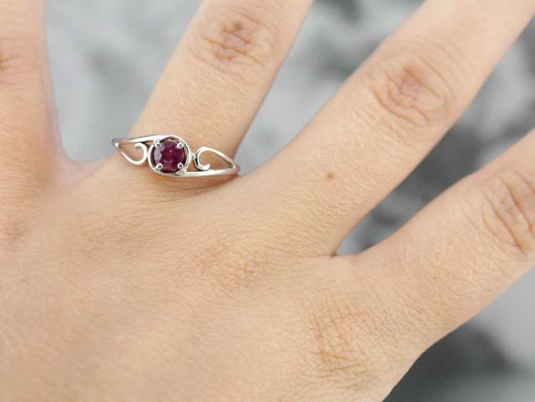 White Gold Ruby Solitaire Ring - image 4