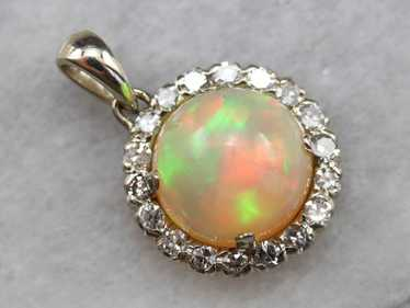 Fiery Opal Diamond Halo Pendant