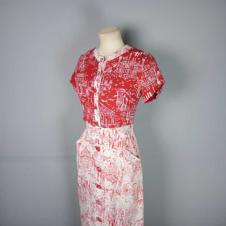 40s RED WHITE NOVELTY DRESS AND BOLERO IN PARISIA… - image 11