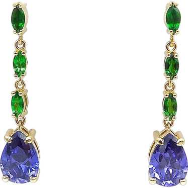 Yellow and Red Sapphire Chroome Diopside and Tanzanite Earrings in 14K White Gold Vermeil
