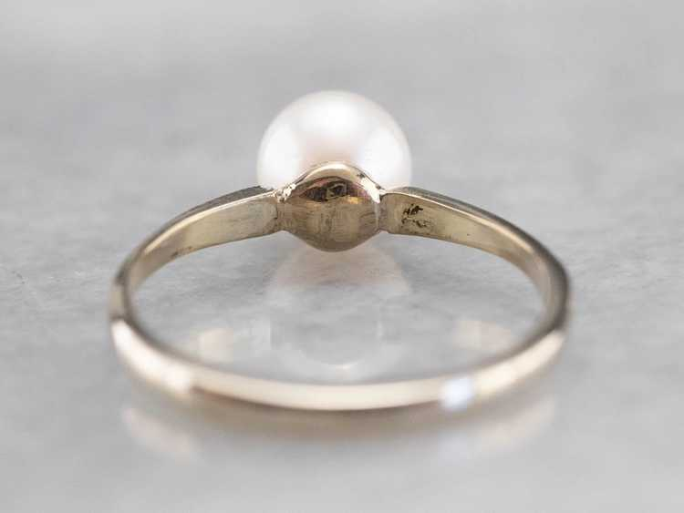 Pearl White Gold Solitaire Ring - image 5