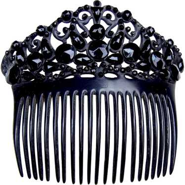 French jet hair comb Victorian mourning hair acces