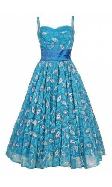 1950's Metallic Leaves Embroidered Blue Chiffon Sa