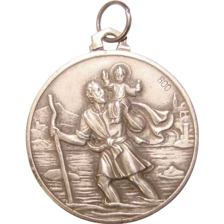 Awesome 800 Silver St. Christopher Medal Pendant … - image 1
