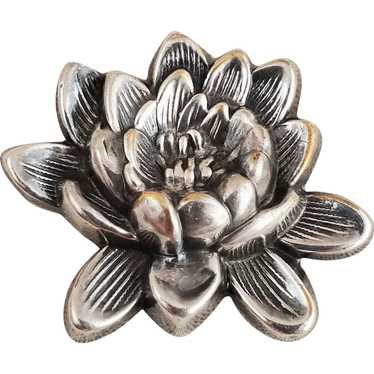 Vintage JOSEFF of HOLLYWOOD Silver Water Lily Flow