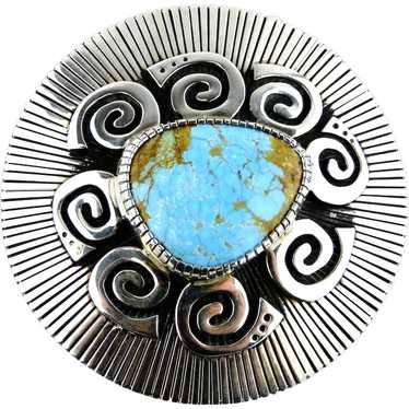 Navajo Kee Yazzie Turquoise Sterling Silver Overla